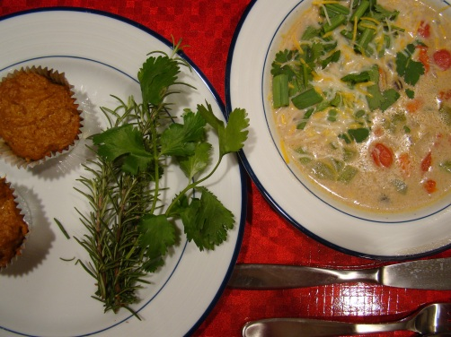 Southwestern corn chowder and spiced sweet potato souffle with stuffing crust