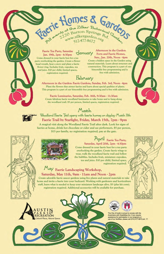 Zilker Park Faerie Homes and Gardens Poster