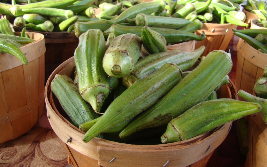 close up of okra in basket