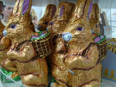Foil wrapped chocolate bunny from See's