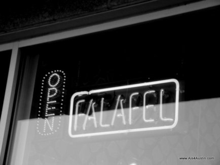 Maoz Falafel sign black and white