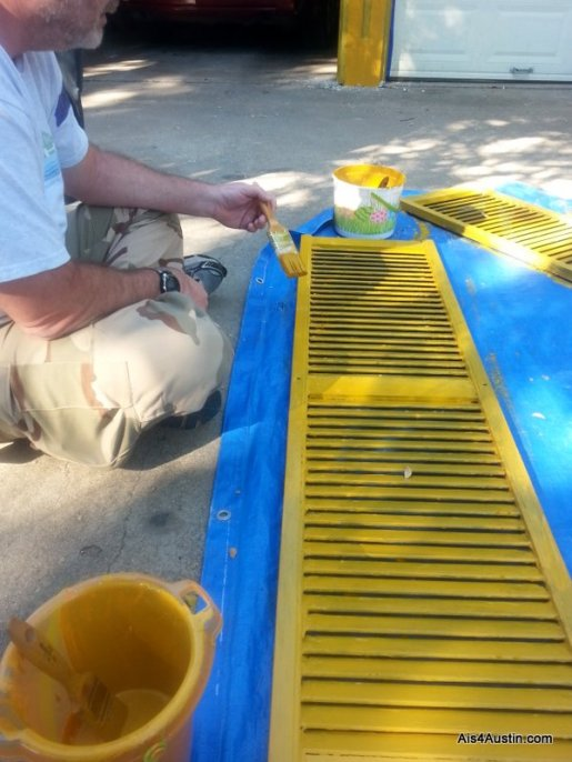 Painting shutters at iACT Austin