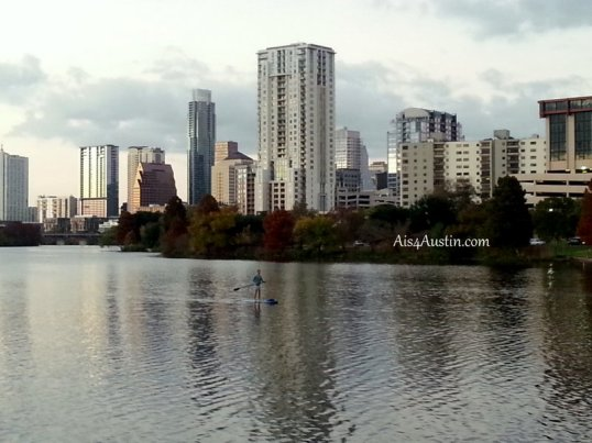 Austin skyline with paddleboarder