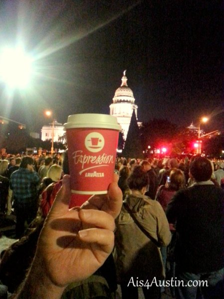 Coffee cup and Texas State Capitol